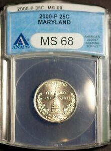 2000-P 25C Maryland State Quarter MS 68 ANACS 1506692 + Bonus
