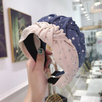 Fashion Lady Hot Drilling Pearl Rhinestone Knotted Headband Hair Band Accessory