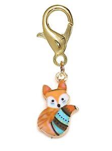 Orange Fox Woodland Animal Enamel Gold Plated Lobster Clip Charm for Bracelets