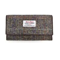 Harris Tweed Tartan Long Wallet/Purse with Zipper and Cardholder (BROWN-PURPLE)