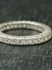 925 Sterling Silver Full Eternity CZ Ring UK Size P
