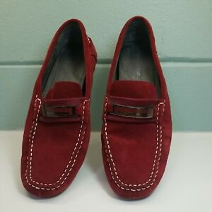Calvin Klein  Mens Red Suede Moccasin Loafers Shoes 10M. Preowned