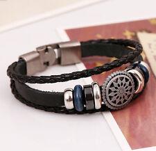 New Hot Jewelry Fashion Leather Cute Lots Charm Wrap Bracelet Black Women Men