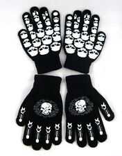 TWO PAIRS Glow In Dark Skully Stretchy Magic Cotton Gloves One Size Fits Most #3
