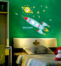 SPACE ROCKET wall clock and wall sticker, glow in the dark wall clock for kids