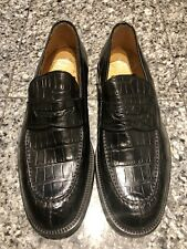 Fratelli Peluso for Barneys New York Black Alligator Men's Loafers Shoes