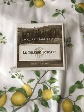 "Le Telerie Toscane Tablecloth Lemons White & Yellow 66"" x 108"" - Brand New ITALY"