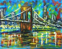 """BROOKLYN BRIDGE"" Original Painting Abstract Mid-Century Modern Style Artwork"