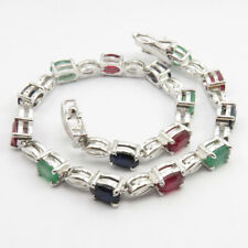 """Real RUBY EMERALD SAPPHIRE 925 Pure Silver BRACELET 7.7"""" Cheap Christmas Gifts"""
