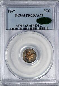 1867 3CS Three Cent Silver PCGS PR65CAM *CAC-Verified* Color-Toned Proof!
