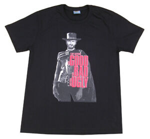 Mens Clint Eastwood Printed Good Bad Ugly Film T-Shirt Large Movie Poster Black