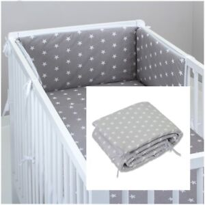 COT BUMPER padded filled straight for cot / cot bed GREY STARS  180/210 cm long