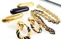 Vintage Monet Black Enamel Gold Tone Necklace Brooch Earrings SET