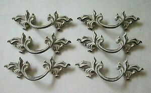 (6) VINTAGE BRASS FINISH FRENCH PROVINCIAL DRAWER PULLS / HANDLES