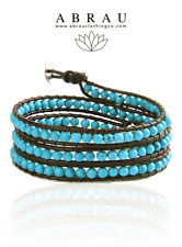 Turquoise Howlite Boho Style Gemstone Beaded 3 Wrap Genuine Leather Bracelet
