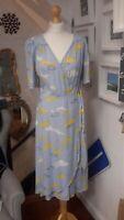 Nine by Savannah Miller Blue and White Cloud Print Midi Wrap Dress Size 12 NWT