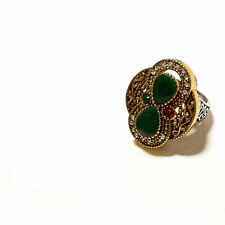 Emerlad Ring 1pc Us Sz 8 Vintage_Style Turkish Jewelry Sterling Silver Simulated