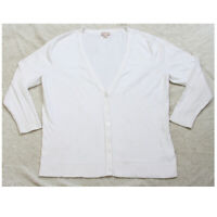 XXL Merona White Woman's V-Neck Cardigan Sweater Cotton Nylon Spandex 2XL Womens