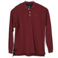 ORVIS Mens L/S Pique Polo Shirt Size L Tall Maroon Burgundy Embroidered NWOT