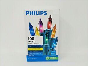 PHILIPS 100 MULTI COLOR MINI LIGHTS, Green Wire Indoor/Outdoor, Brand New