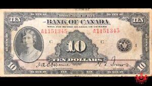 1935 Bank Of Canada 10$ English A1151345 - Fine - Tears