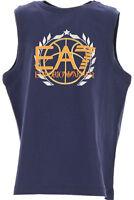 T-Shirt EA7 Emporio Armani 7 3ZBT58 EA Bambino Canotta Smanicata Blu Logo Cotone