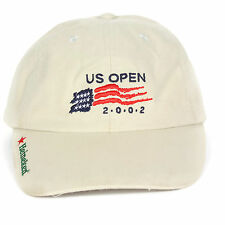 2002 US OPEN Bethpage USA FLAG Baseball Cap Golf Hat Khaki Beige Adjustable