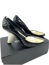 Chanel Two Tone Patent Leather Slanted Heel Pumps Size 39 8-8.5 US Women