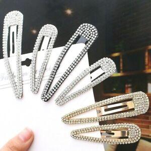 Women Girls Rhinestone Hair Clip Silver Or Gold Or Black Sparkling Hair Grip UK