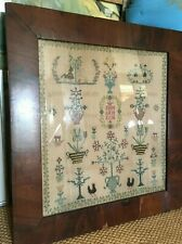 1805 Dutch Amsterdam antique needlepoint, embroidery, Sampler - Original Frame
