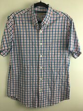 J Crew Mens Pink Casual Formal Dress Shirt Size M Short Sleeve Button Front EUC