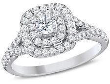 1.00 quilates (claridad I1-I2) Halo Anillo de compromiso de diamante oro 14K