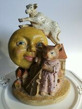 """Baby Nursery Figurine """"Hey Diddle Diddle Cat & Fiddle Cow Jumped Over the Moon"""""""