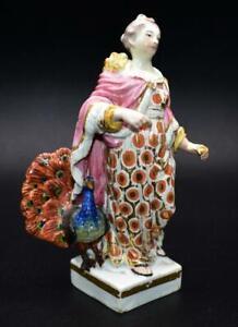 Rare Mark Antique 18thC Derby Porcelain Juno and peacock Figure Circa 1780