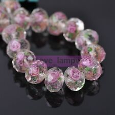 12mm Flowers Rondelle Faceted Lampwork Glass Loose Spacer Beads Jewelry Making