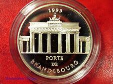 1993 France Large Silver Proof  100 Fr/15 Ecu Brandenburg Gate Berlin