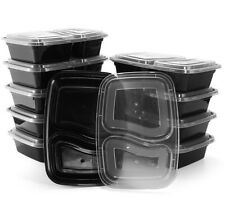 Meal Prep 2 Compartment Food Containers Disposable Picnic Lunch Box x 20 Pack