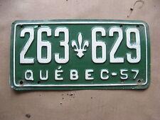 1957 57 QUEBEC CANADA CANADIAN LICENSE PLATE  RARE #  263 629