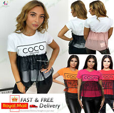 Womens Short Sleeve Coco Nuts Fashion Mesh T-shirt Vogue Ladies Summer Tee Top