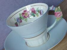 Antique 1930's Paragon blue bone china pink rose flower handle tea cup teacup