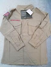 Boy Scout Uniform Shirt Long Sleeve Nylon Tan Youth Small NWT