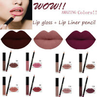 Sexy Waterproof Matte Long Lasting Liquid Lipstick Makeup Lip Pencil Gloss Liner
