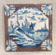 "Antique 18th Century 5"" Delft Tile with Church on a Hill"