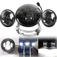 "LED 7"" Daymaker Headlight Passing Lights Mount Ring Fit Harley Davidson Touring"