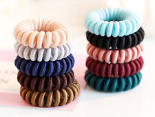 10 Color Spiral Coil Elastic Hair Scrunchies Telephone Cord Ponytail Holder 40mm