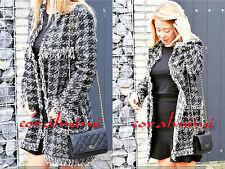 Zara NEW BLACK HOUNDSTOOTH FRAYED ROUND NECK JACKET COAT SIZE S