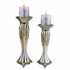 "12"" and 14"" Tall Polyresin Candleholder, Silver Royal design (Set of 2)"