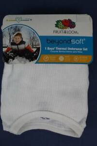 NEW Boys Thermal Underwear Set Small 6 - 7 White Shirt Pants Wicking Long Johns