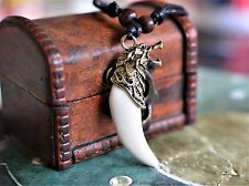 Viking Wolf Head Fenrir Necklace Bone Tooth Bronze Norse Pendant Asatru Wicca