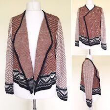 M&S Women Open Cardigan UK 16 Long Sleeve Wrap Brown Black Smart Formal Knit Top